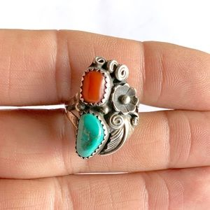 Signed Navajo Sterling Silver Turquoise Coral Ring